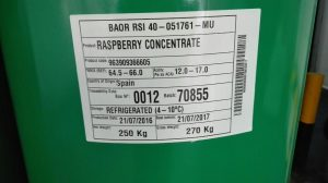 Raspberry concentrate label